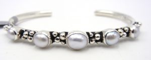 Navajo pearl and sterling silver Million Dollar Drop collection cuff bracelet