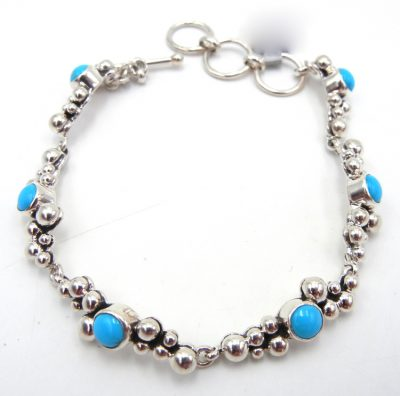 Navjao turquoise and sterling silver applique Million Dollar Drop Collection link bracelet