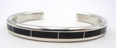 Navajo jet and sterling silver channel inlay cuff bracelet by Larry Loretto