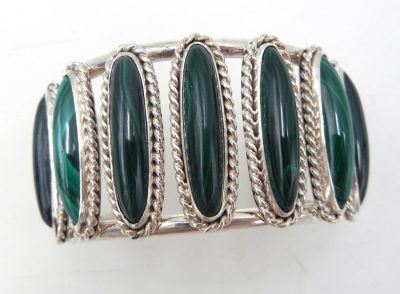 Navajo malachite and sterling silver row cuff bracelet by Leonard and Racquel Hurley
