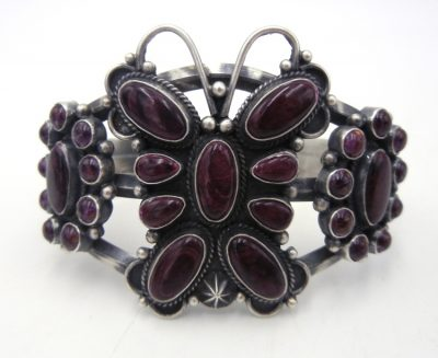 Navajo purple spiny oyster shell and brushed sterling silver butterfly cuff bracelet by Tyler Brown