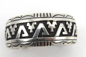 Navajo sterling silver overlay wide band cuff bracelet by Rosita Singer