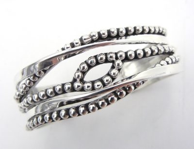 Navajo contemporary sterling silver applique overlapping Million Dollar Drop cuff bracelet