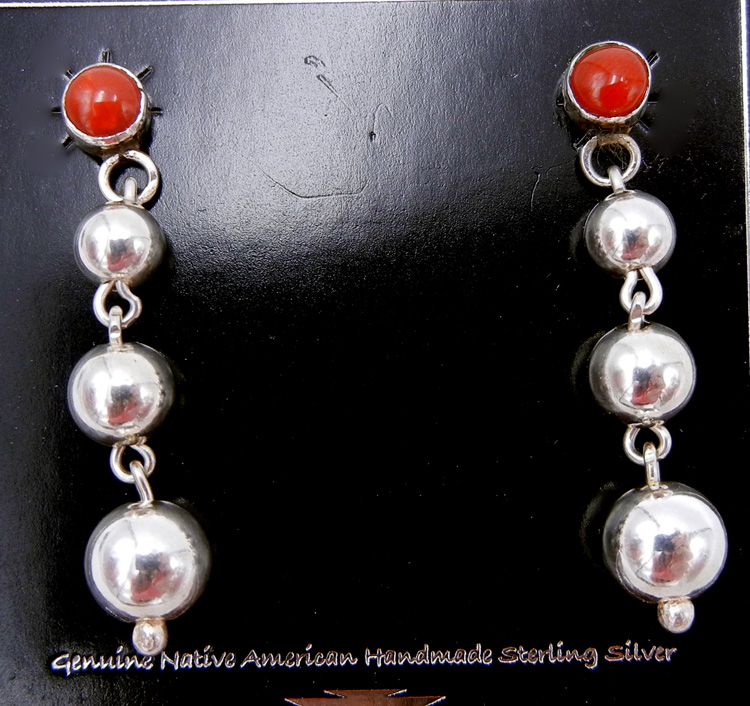 Navajo coral and sterling silver bead (Navajo pearl) dangle earrings