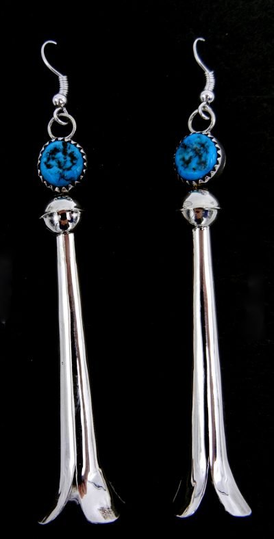 Navajo turquoise and sterling silver squash blossom earrings by Doris Smallcanyon
