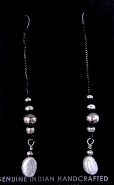 Navajo brushed sterling silver bead (Navajo pearl) and pearl drop earrings