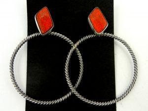 Navajo apple coral and sterling silver large loop earrings