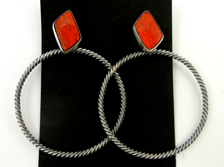 Navajo apple coral and sterling silver large loop earrings
