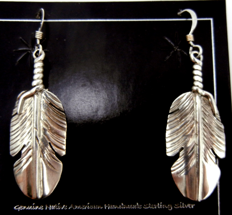 Navajo small sterling silver feather dangle earrings by Ben Begay