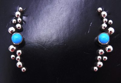 Navajo turquoise and sterling silver applique Million Dollar Drop Collection earrings