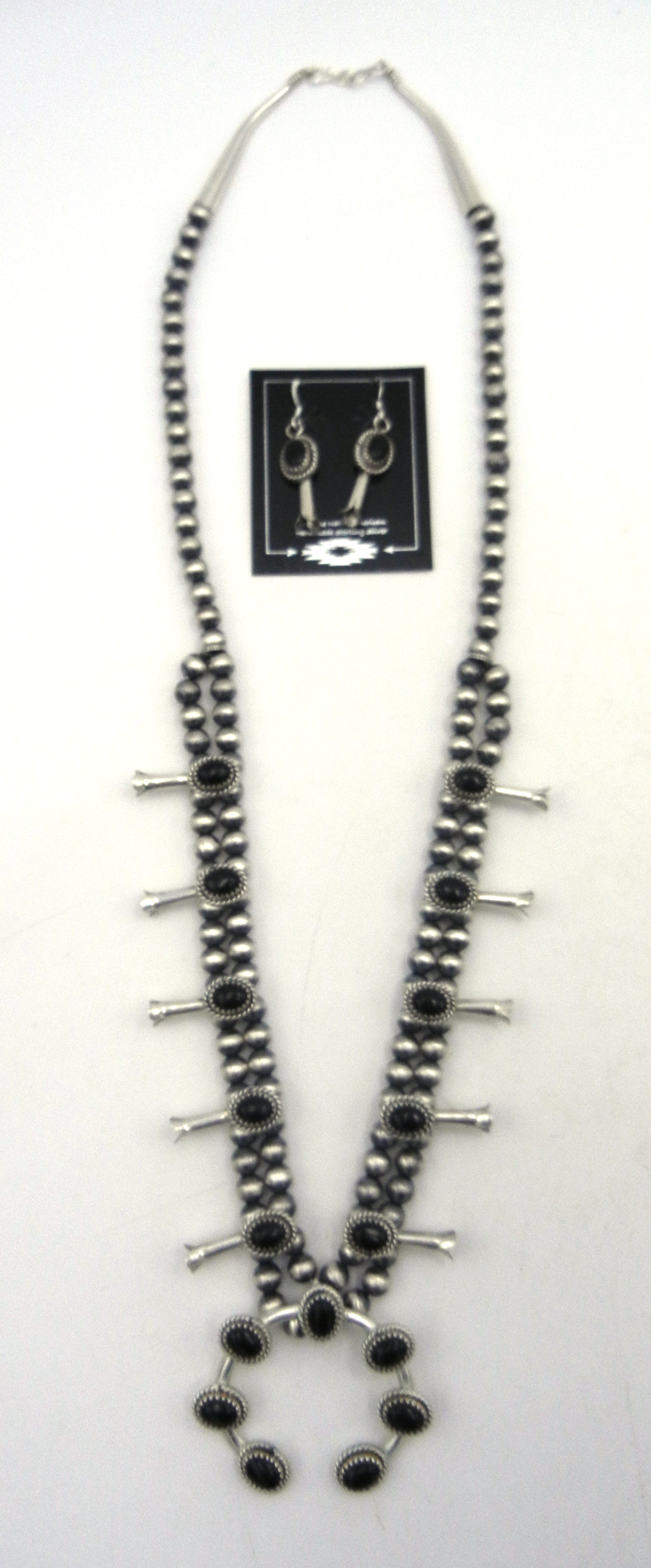 Navajo brushed sterling silver and onyx squash blossom necklace and earring set