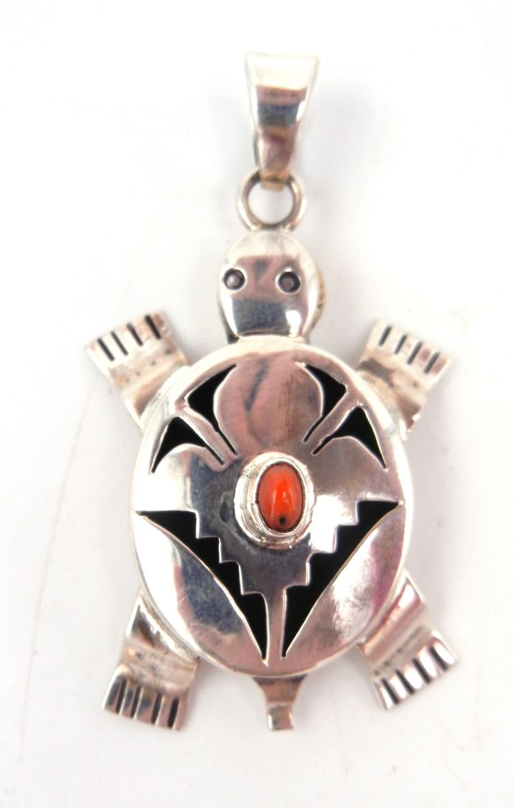 Navajo sterling silver and coral shadowbox style turtle pendant by Bennie Ration
