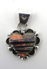 Navajo sugilite, lab opal, and sterling silver inlay heart pendant