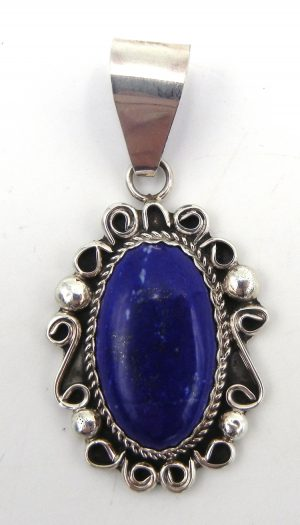 Navajo lapis and sterling silver pendant by Leslie Nez
