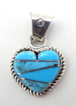 Navajo turquoise and sterling silver inlay heart pendant