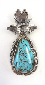 Navajo Royston turquoise and sterling silver maiden pendant by Bennie Ration