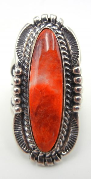Navajo red spiny oyster shell and sterling silver ring by Will Denetdale