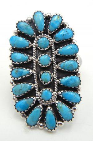 Navajo turquoise and sterling silver rosette ring by Zeita Begay