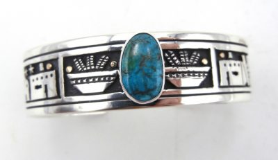 Santo Domingo sterling silver and 14k gold overlay and turquoise cuff bracelet by Joseph Coriz