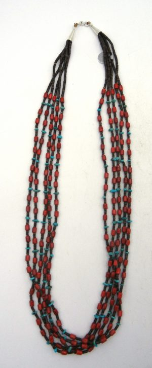 Santo Domingo turquoise, apple coral, and olive shell heishi five strand necklace by Jeanette Calabaza