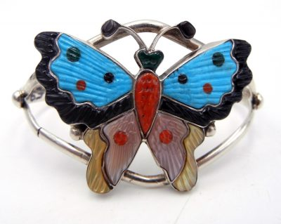 Zuni multi-stone inlay and sterling silver butterfly cuff bracelet by Tamara Pinto