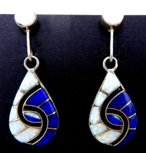 Zuni lapis, lab opal and sterling silver hummingbird pattern earrings by Amy Quandelacy