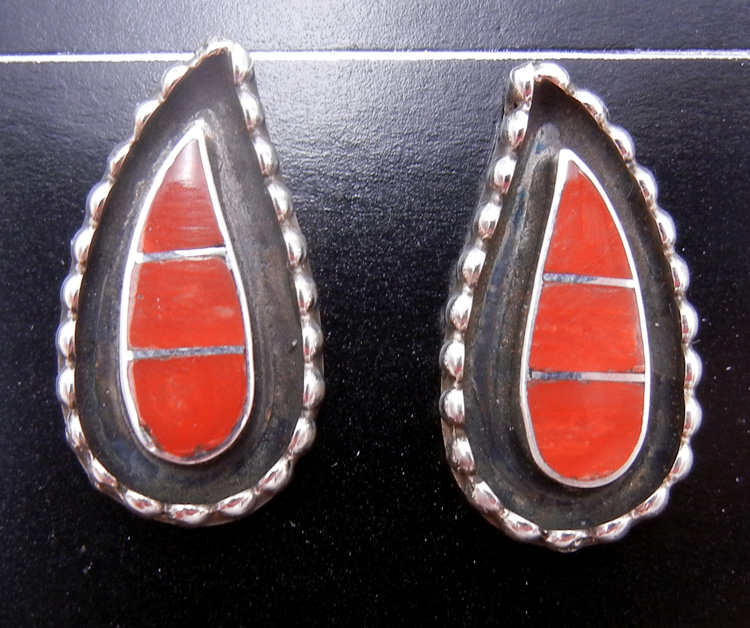 Zuni coral and sterling silver inlay post earrings