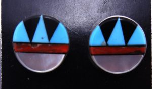 Zuni multi-stone inlay and sterling silver post earrings