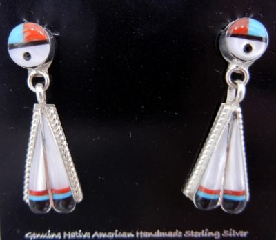 Zuni multi-stone inlay and sterling silver sunface and double feather dangle earrings