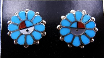 Zuni multi-stone inlay and sterling silver sunface earrings