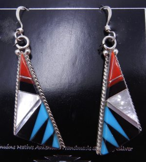 Zuni multi-stone inlay and sterling silver triangular dangle earrings