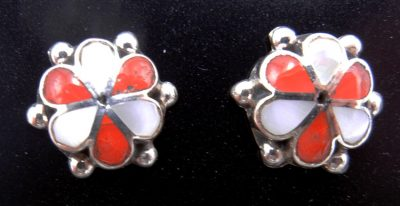 Zuni coral, white mother of pearl, and sterling silver inlay rosette earrings