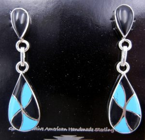 Zuni jet, turquoise, and sterling silver inlay dangle earrings by Orlinda Natewa