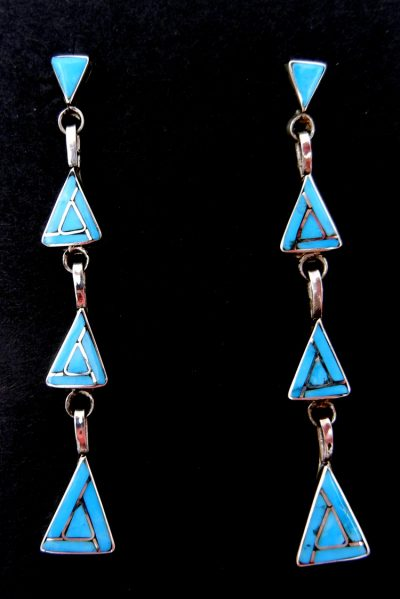 Zuni turquoise and sterling silver triangle dangle earrings