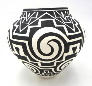 Acoma black and white handmade and hand painted jar by Kathy Victorino