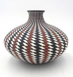 Acoma handmade and hand painted polychrome eyedazzler squat vase by Paula Estevan