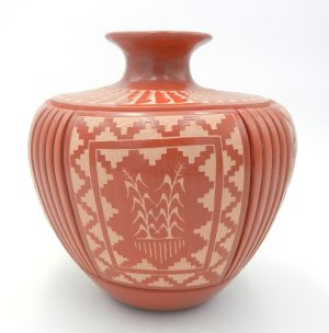 Jemez red polished and etched melon style jar by Alvina Yepa