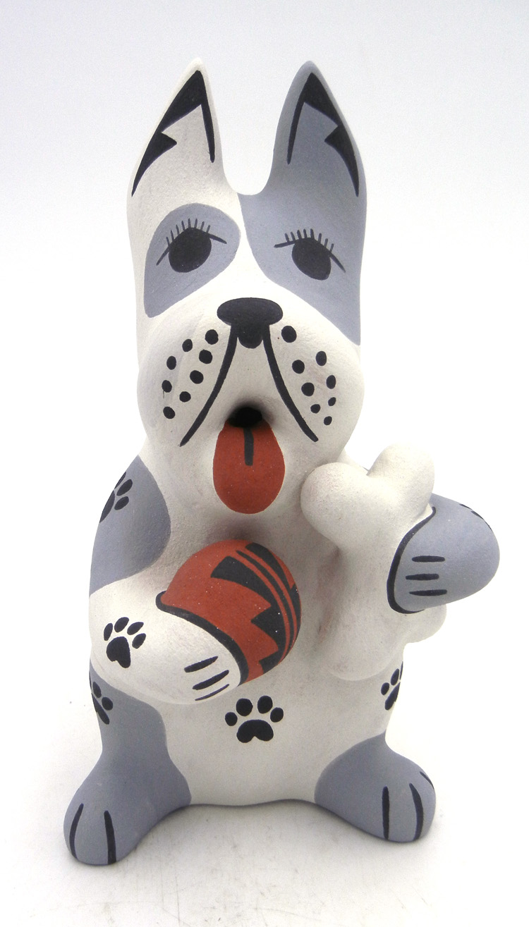 Jemez handmade dog figurine with bone and ball by Darrick Tsosie