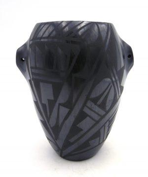 Jemez black on black geometric design jar with handles by Gabriel Gonzales