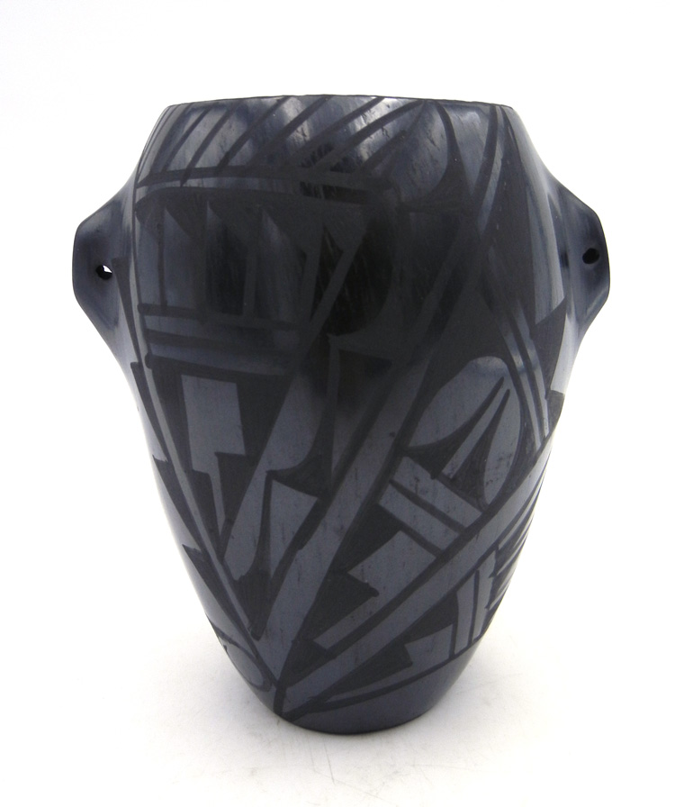 Jemez black on black geometric design jar with handles by Gabriel Gonzales