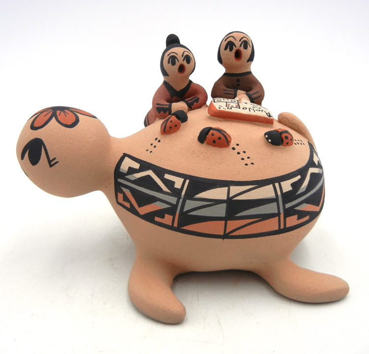 Jemez turtle figurine with two children by Chrislyn Fragua