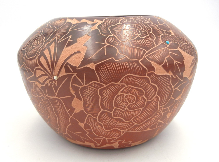 Santa Clara large red etched and polished bowl by Gwen Tafoya with rose, hummingbird, and butterfly designs
