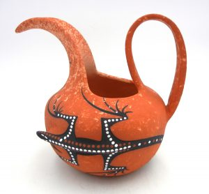 Zuni red three dimensional lizard pitcher by Lorenda Cellicion