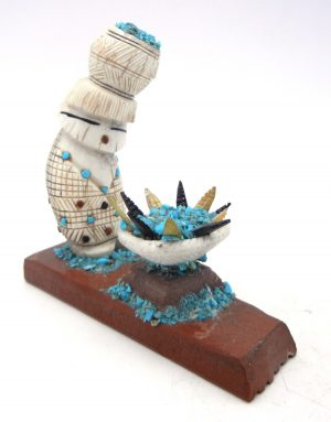 Zuni elk antler, alabaster, and turquoise corn maiden fetish with offering by Carl Etsate