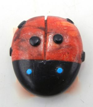 Zuni apple coral and jet lady bug fetish by Georgette Quam