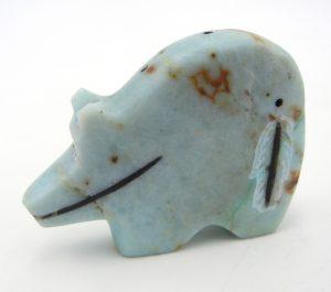Zuni carved stone sodalite bear fetish by Roselle Gonzalez