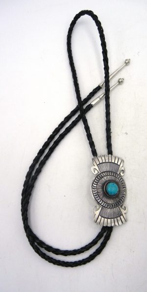 Navajo sandcast sterling silver and turquoise bolo tie by Shawn Cayatineto