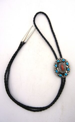 Navajo turquoise, coral, and sterling silver bolo tie