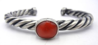 Navajo coral and sterling silver rope pattern cuff bracelet