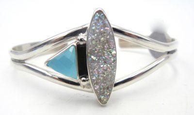 Navajo druzy, aqua chalcedony, and sterling silver cuff bracelet